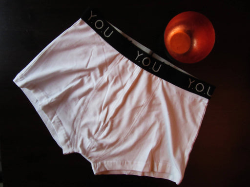 You Underwear Men's White Organic Cotton Trunks