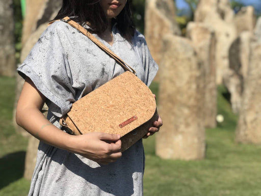 Big oval cork sling bag
