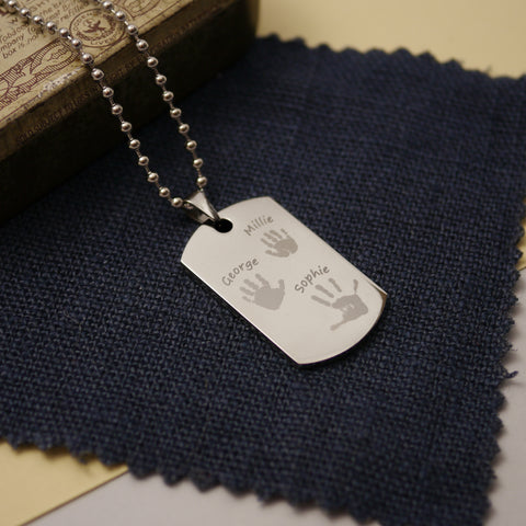 handprint dog tag necklace, mens gift ideas