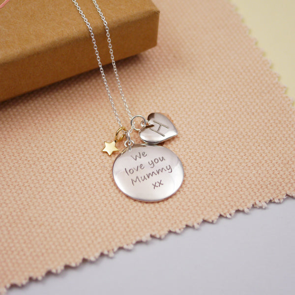 Engraved Silver Personalised Disc Family Necklace