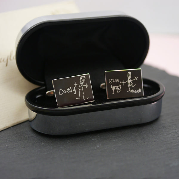 Children's Drawing cufflinks personalised doodle