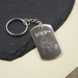 Children's Drawing Keyring Personalised Gift Doodle