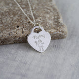 Children's Drawing Heart Necklace Personalised Gift Doodle
