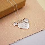 Engraved Silver Personalised Heart Family Necklace