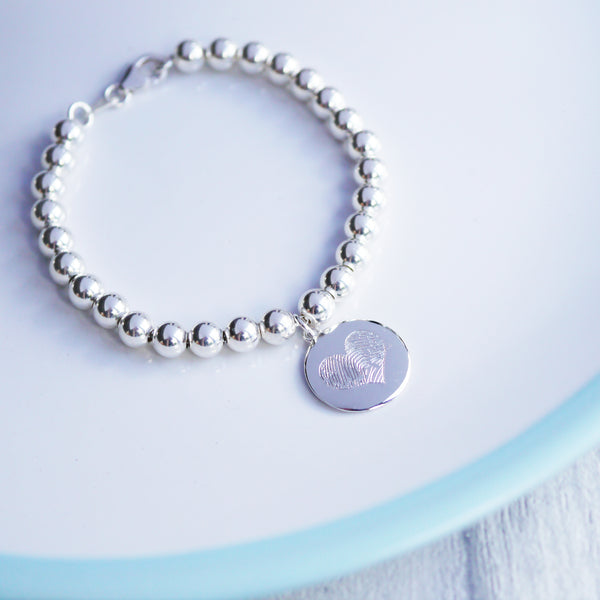 Personalised silver fingerprint bracelet