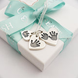 Handmade personalised Handprint and Footprint silver heart charm necklace four children