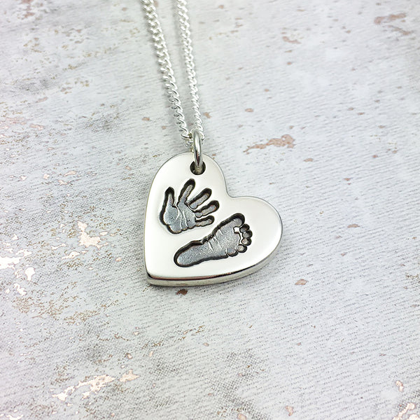 Handmade personalised Handprint and Footprint silver heart charm necklace