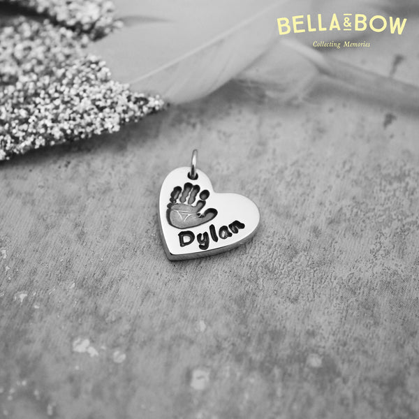 Handmade Handprint Heart Charm Necklace