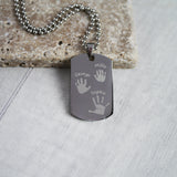 Handprint footprint dog tag necklace