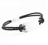 Mens Leather ID Handprint Bracelet