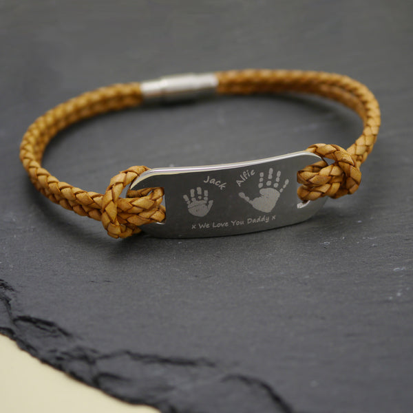 Leather Handprint ID Bracelet