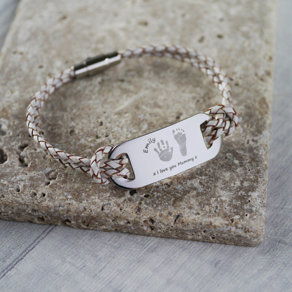 Leather Handprint ID Ladies Bracelet