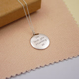 Engraved Silver Disc Personalised Quote Necklace