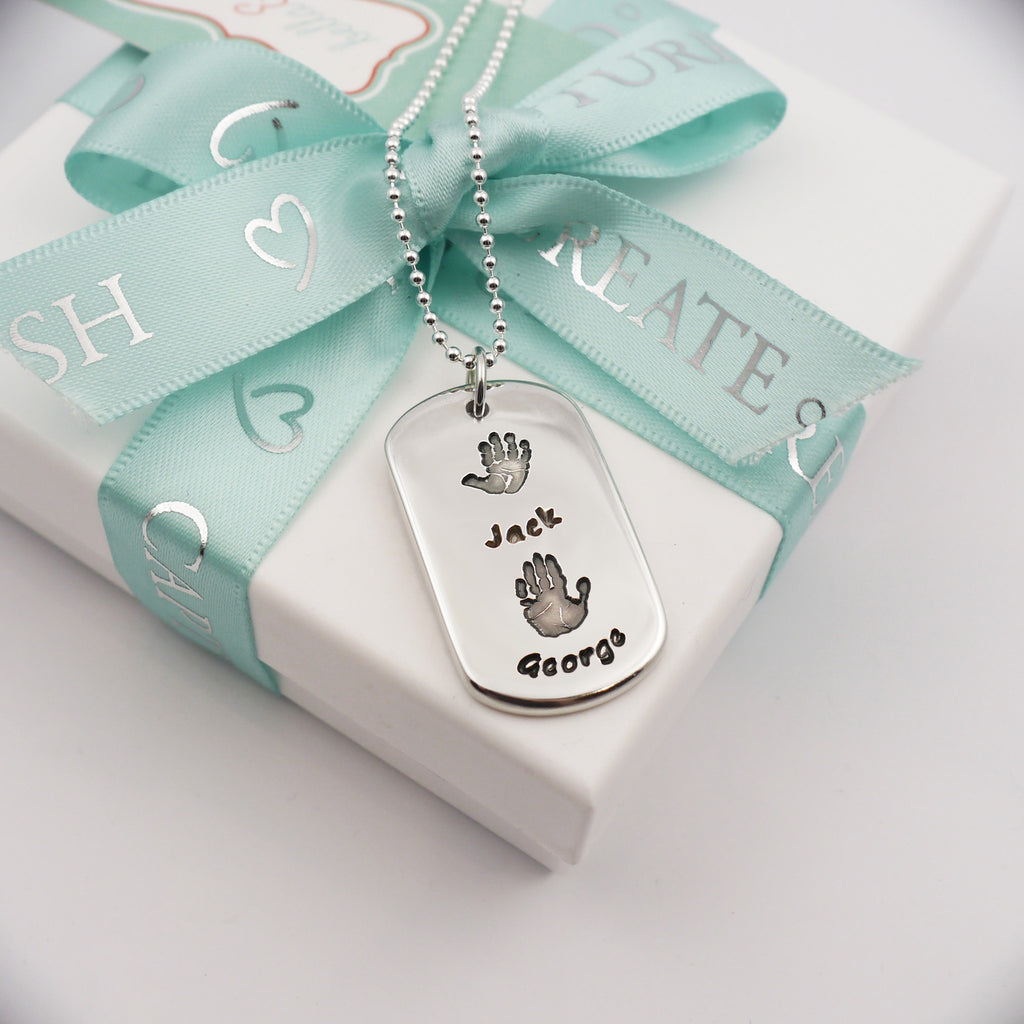 Handmade handprint dog tag necklace personalised - two children