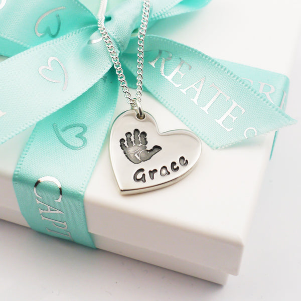 Personalised handmade large silver handprint heart charm necklace