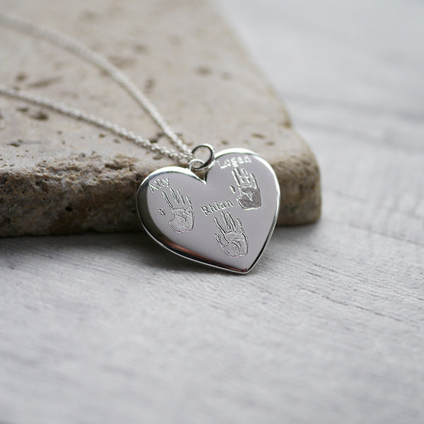 Handprint Heart Necklace
