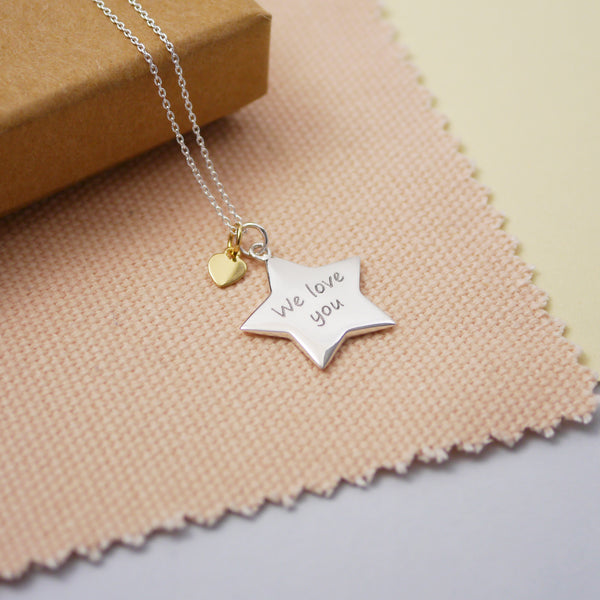 Engraved Personalised Silver Star Charm Necklace