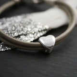 Personalised Leather Heart Charm Bracelet