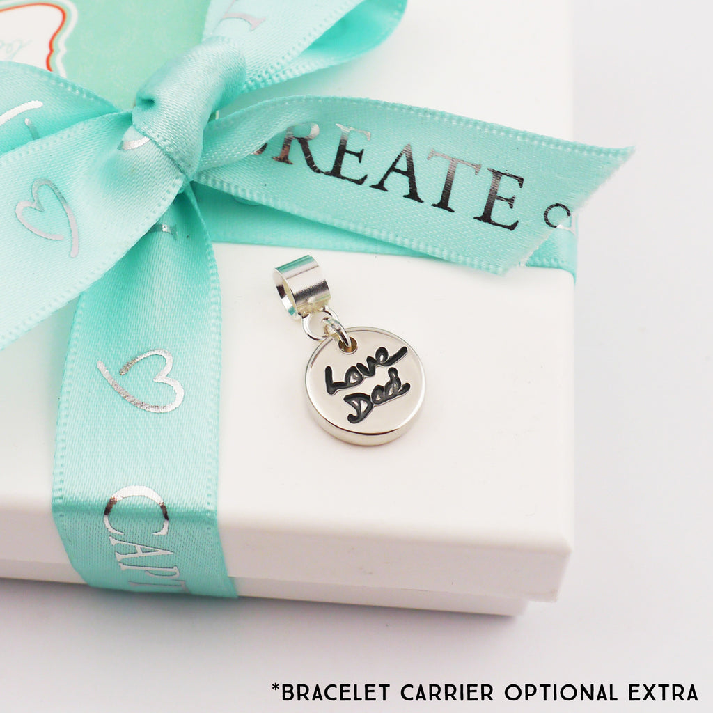 silver handwriting charm