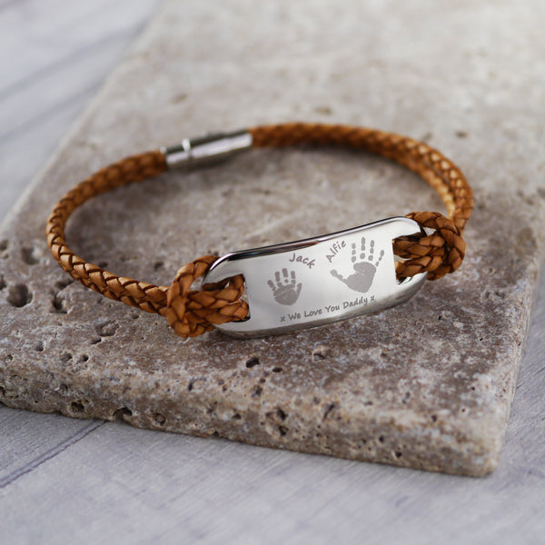 Leather Handprint ID Men's Bracelet