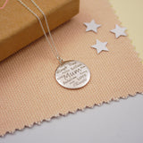 Engraved Silver Mum Disc Necklace