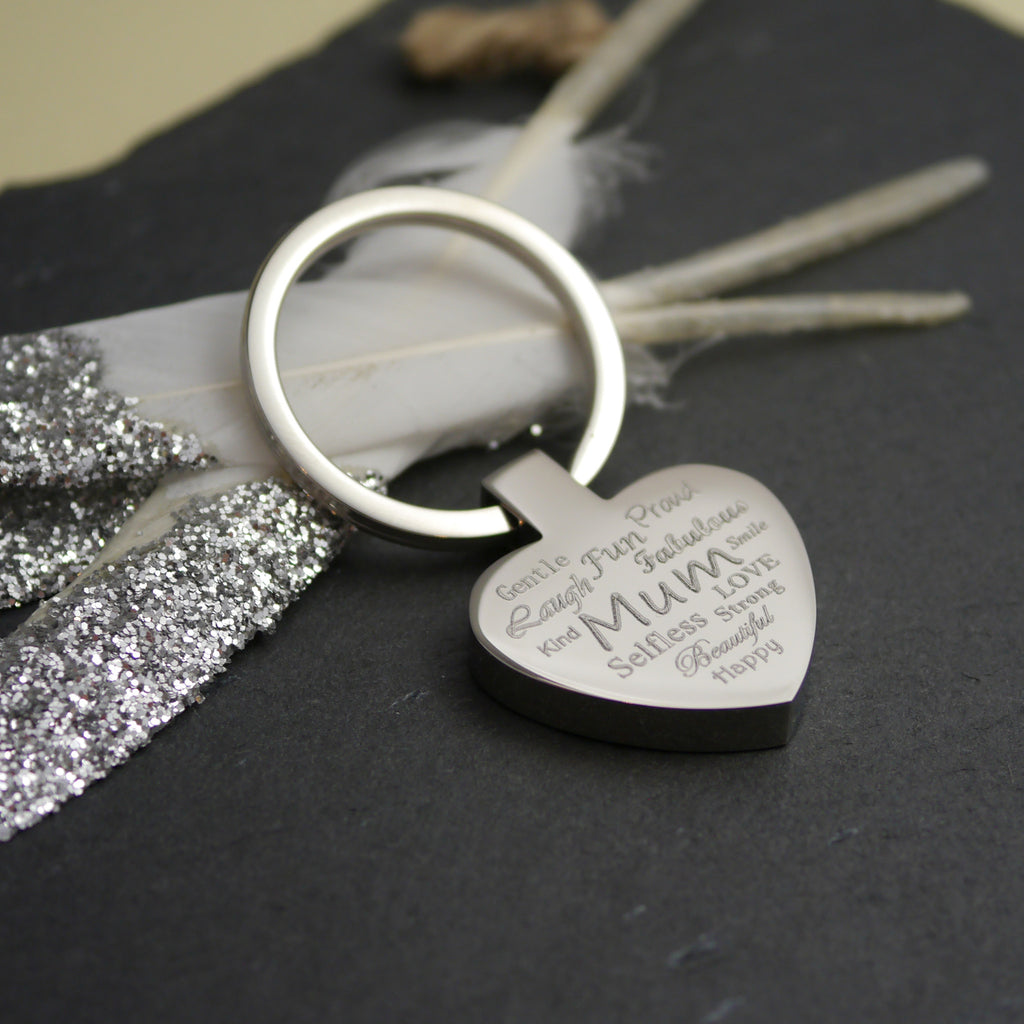 Engraved Personalised Mum Heart Keyring