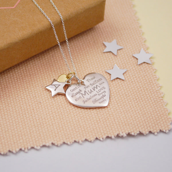 Engraved Silver Mum Heart Necklace