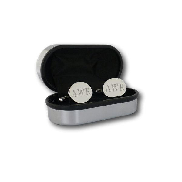 Personalised Engraved Oval Initial Cufflinks
