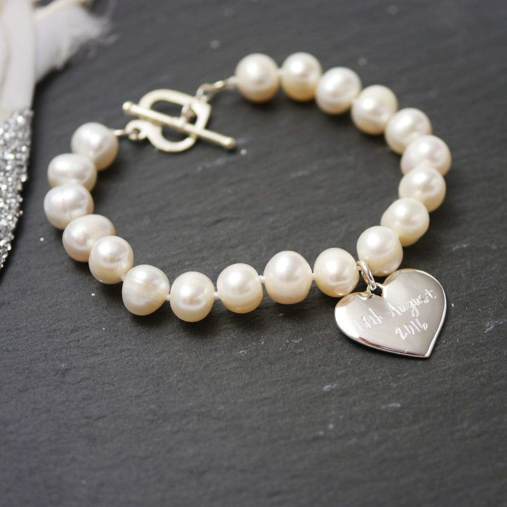 Freshwater Pearl and Silver Charm Personalised Bracelet