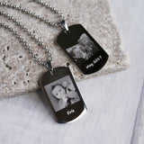 Personalised photo engraved dog tag necklace