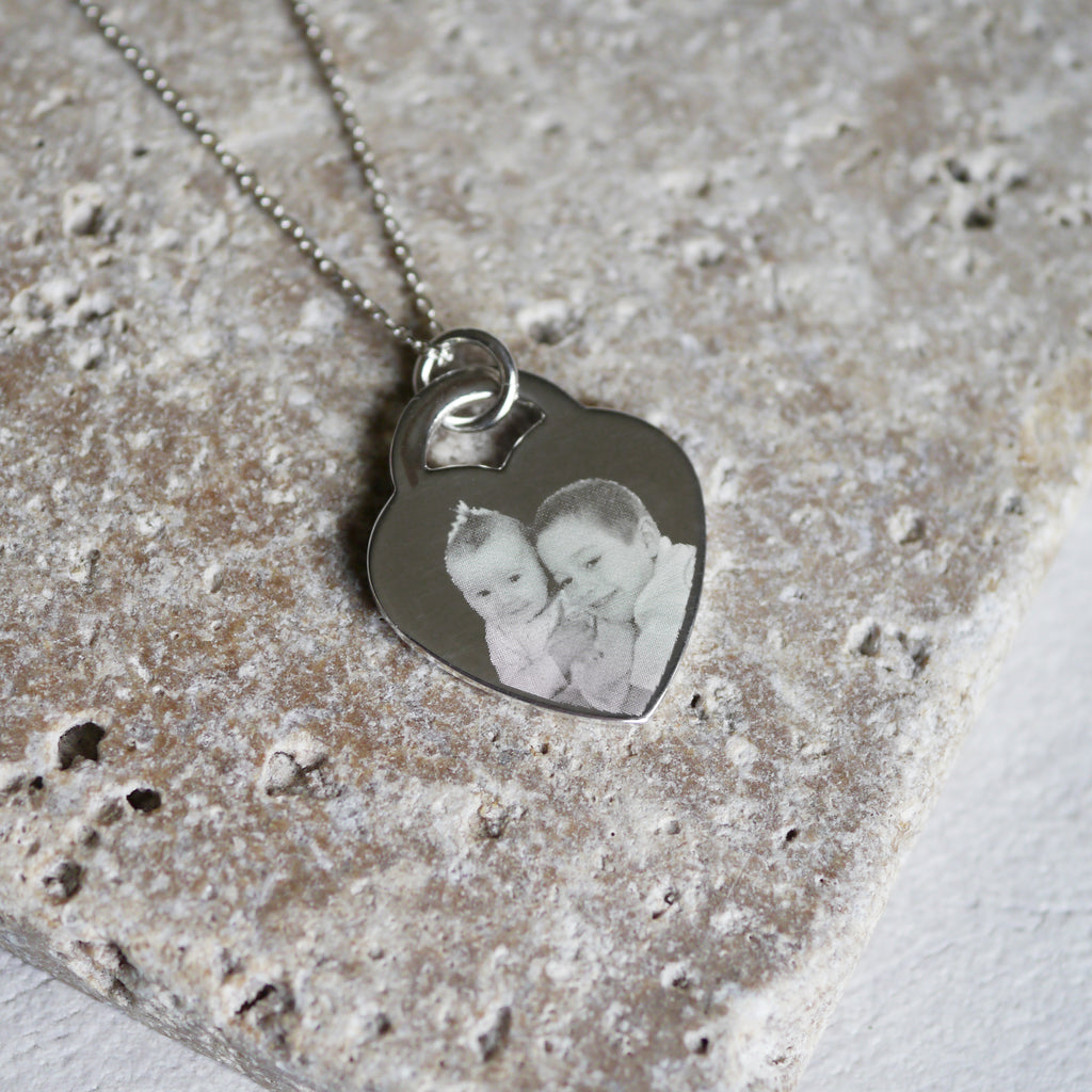 Personalised photo engraved necklace keepsake