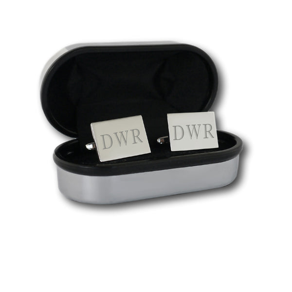 Rectangular Engraved Initial Cufflinks