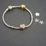 Rose gold personalised heart charm bead pandora