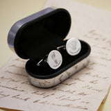 Round Engraved Handprint Cufflinks
