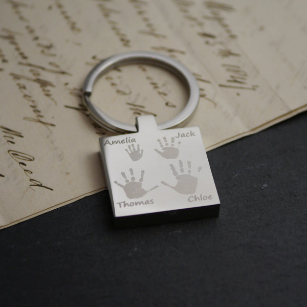 Engraved square personalised handprint keyring
