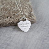 Large Handprint Heart Charm Necklace - Tiffany Style