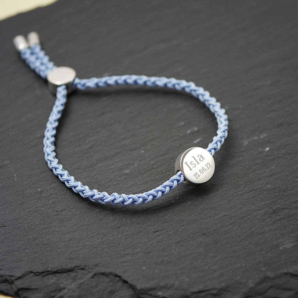 Engraved Silver Personalised Quote Cord Friendship Bracelet