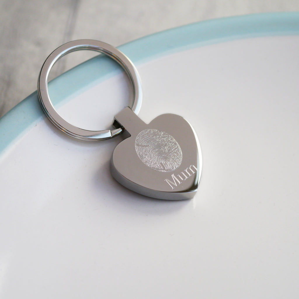 Personalised heart fingerprint keyring