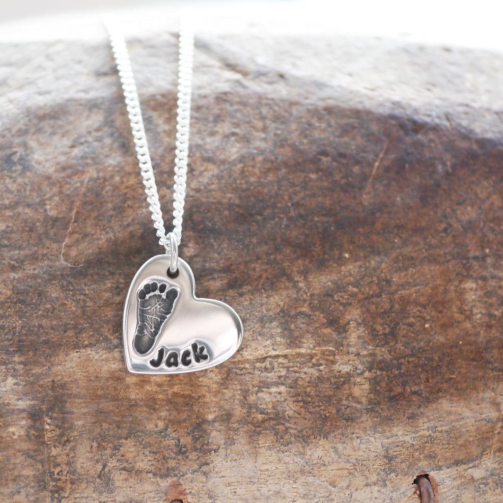 Handmade Handprint Footprint Heart Charm Necklace