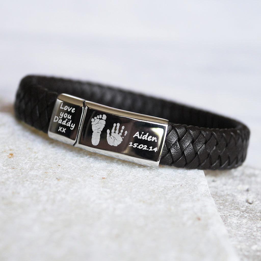 Men's Leather Handprint Bracelet - Black