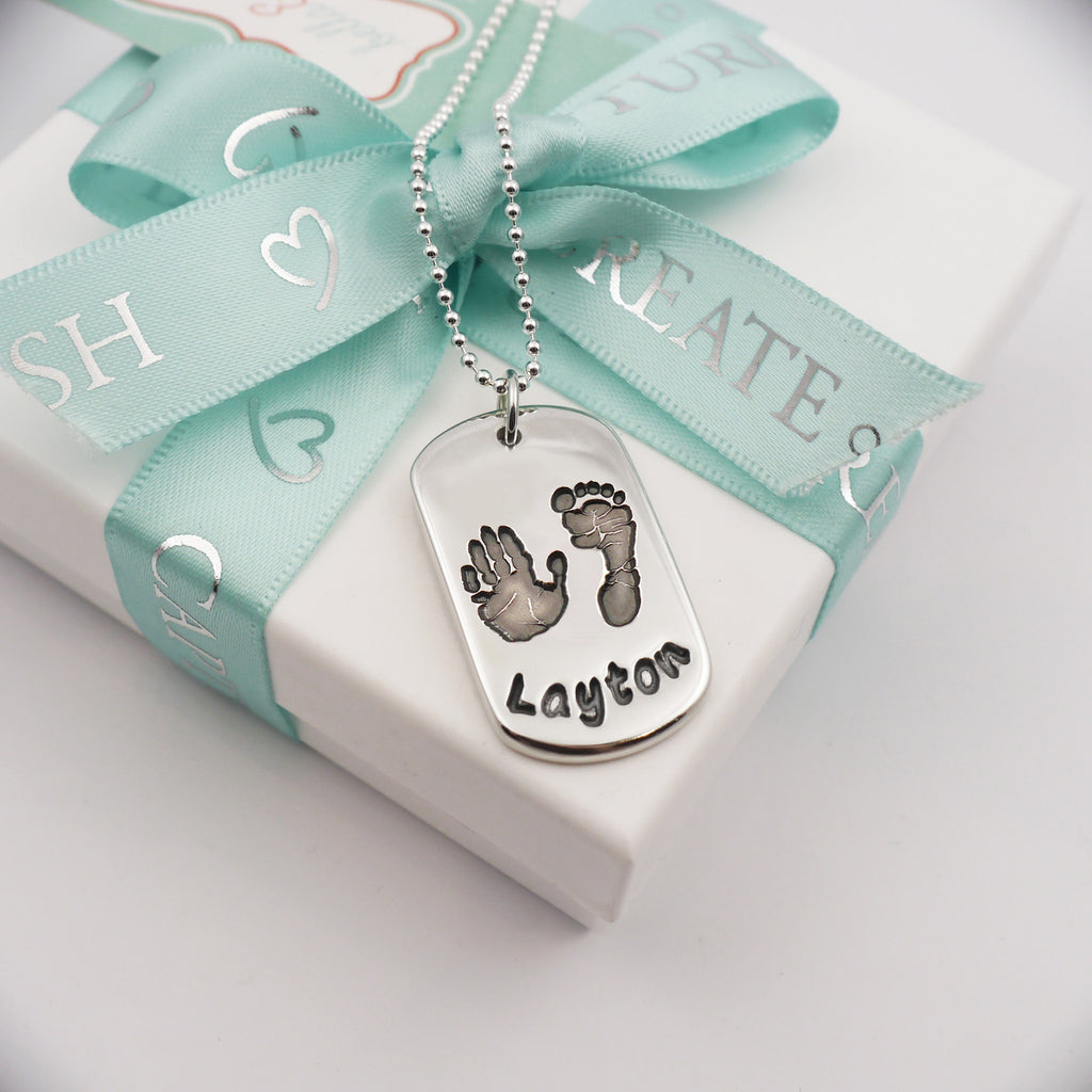 Handmade handprint & footprint dog tag necklace personalised