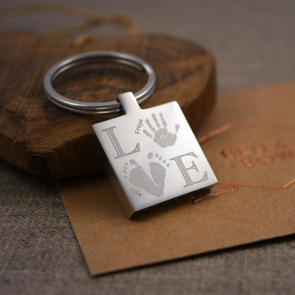 Handprint footprint keyring keepsake