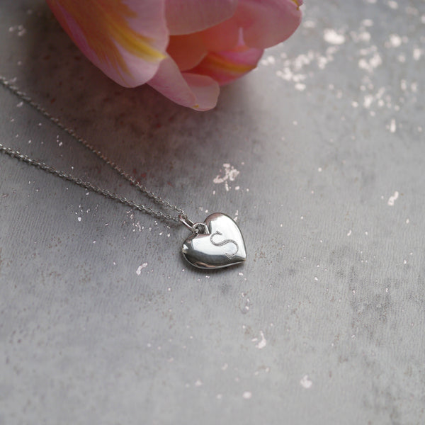 Personalised Silver Mini Heart Necklace