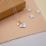 Engraved Personalised Silver Heart Charm Necklace