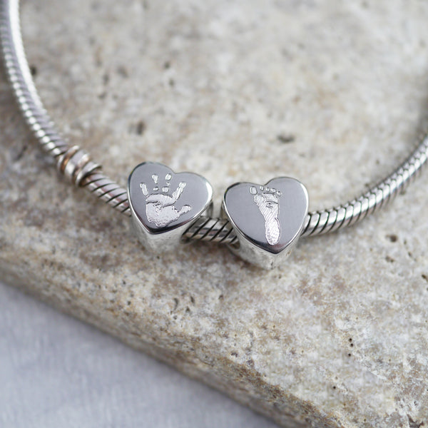 Handprint heart charm bead pandora personalised