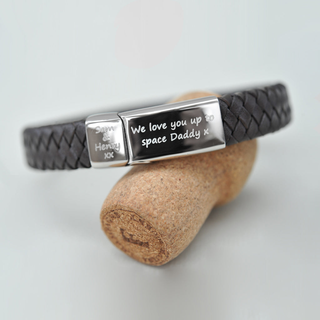 Personalised men's leather engraved bracelet