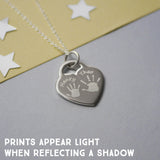 Engraved Handprint Charm Necklace