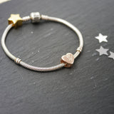 Rose gold handprint heart charm bead personalised pandora