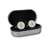 Round Engraved Handprint Cufflinks - Two Children