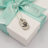 Handmade personalised mini handprint dog tag necklace
